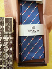 Vintage 70's Givenchy Bowtie in Gift Box Blue with Red Rose Pattern