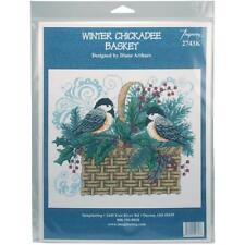Winter Chickadee Basket Counted Cross Stitch Kit Imaginating NEW holly berry art