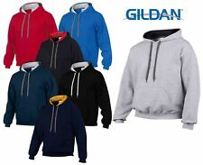 Gildan Heavy Blend Plain Contrast Hooded Sweatshirt Hoodie Sweat Hoody Jumper