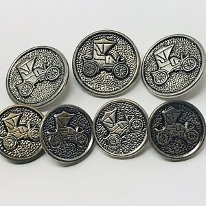 Vintage Set 7 Buttons Cars Classic Sewing Lot