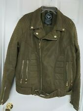 Jordan Craig Men's Leather Moto Jacket w/ attached waist belt Olive/gold  XL