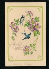 Italy Sincere Best Wishes greetings card swallows embossed used c1900s PPC