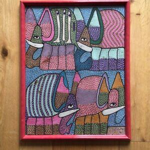 Old Vintage Retro Abstract Design Animal Needlework Textile Art Framed & Glazed