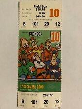 VINTAGE RARE 2000 NFL FOOTBALL TICKET STUB KANSAS CITY CHIEFS VS DENVER BRONCOS