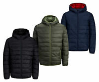 Jack & Jones New Mens Full Zip Quilted Puffer Hooded Coat Jacket Black Navy