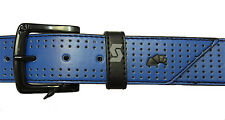 ARMOURDILLO Blue Black Trim RIDDLE Perforated Leather BELT Large 33 34 35 36 37