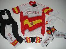 New size XL - SPAIN Team Cycling Flag Road Bike Set Jersey Bib Shorts +