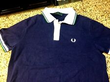 VTG FRED PERRY LONDON ENGLAND TIPPED S/S POLO CREST LOGO MEN M MADE IN ITALY