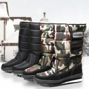 Women/male Platform Waterproof Antiskid Slip On Winter Warm Mid Calf Snow Boots