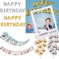 1st Happy Birthday Bunting Banner Monthly Photo Booth Props Frame Balloons Party