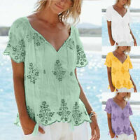 Summer Women's Large Size V-neck Strap Embroidered Short Sleeve Top Casual Shirt