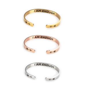 Women Girl Stainless Steel I AM ENOUGH Inspiration Open Cuff Bangle Bracelet UK