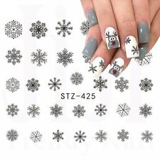 Nail Art Water Decals Stickers Christmas Grey Black Snowflakes Gel Polish 425GB