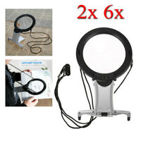 Dual-Purpose LED Magnifier Large Hands Free Magnifying Glass Reading + Neck Cord