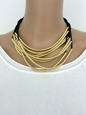 NWT SAKS FIFTH AVENUE Tube Collar Necklace Pendant Gold Chain Black Suede Womens