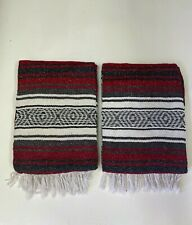 "TWO MEXICAN FALSA BLANKETS ,THROW ,SARAPE , BLANKET, YOGA , 72"" x 52""  , RED"