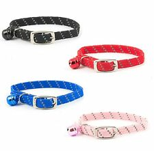 Ancol Softweave Cat Collar with Bell ,Metal Clasp in Black, Pink, Blue, Red