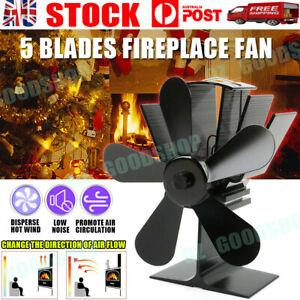 5 Blade Heat Self-Powered Fan Wood Stove Top Burner Fireplace Silent Eco Heater