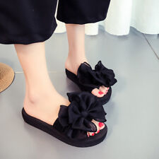 Women Slippers Beach Shoes Bowknot Flat Sandals Slip Resistant Flip Flops
