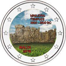 Malta 2 Euro 2018 Mnajdra Tempel Gedenkmünze Prähistorische Stätten in Farbe