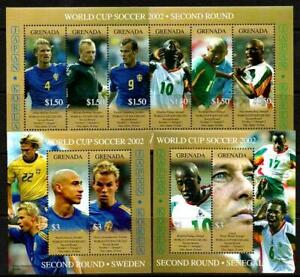 GRENADA 2002 WORLD SOCCER CUP  2nd Round SWEDEN/SENEGAL MNH S/L6 + 2 MS [#1124]
