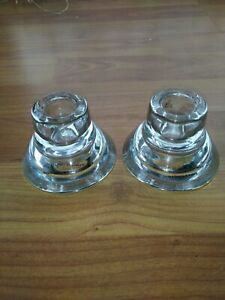 A Pair of Vintage K & M Clear Glass Candle Holders