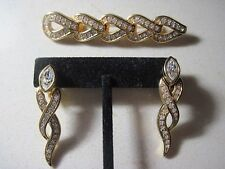 Swarovski Swan  Gold Tone Clear Crystal  Dangle Clip Earrings & Matching Brooch
