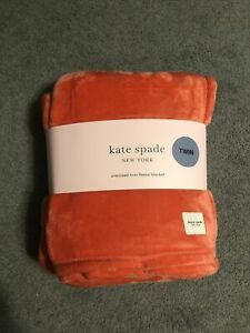 Kate Spade New York Coral Pink Fleece Throw Blanket OVERSIZED TWIN