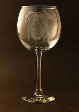 Etched Beauceron on Large Elegant Wine Glasses - Set of 2