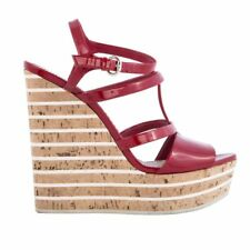 6bece80f9266e 53747 auth GUCCI dark red patent leather Cork Wedge Sandals Shoes 37