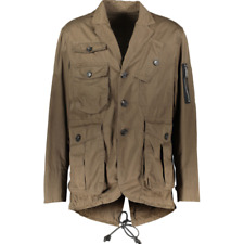 DSQUARED2 Khaki Utility Jacket with Zip & Leather Detail - IT 52/UK 42/FR 48