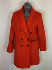 WOMENS TOPSHOP RED DOUBLE BREASTED BUTTON UP TRENCH COAT JACKET WINTER SIZE UK 8