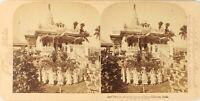 India Calcutta Tempio Jain, Foto Stereo Vintage Albumina PL62L3