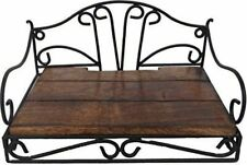 Wrought Iron Wood Decorative Set Top Box Stand Holder for Wall