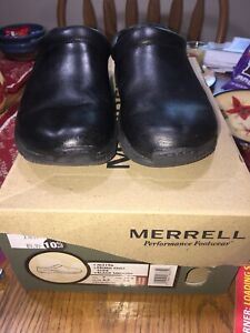 Merrell Primo Chill Slide Black Smooth Clogs Shoes Womens Size 6 M