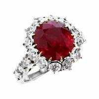 5ct Cushion Cut Pink Ruby Diamond Halo Engagement Ring 14k White Gold Finish