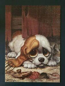 Vintage 1960s Gig Keane Big Sad Eye Puppy Puzzle Snuffy Milton Bradley 500 Piece