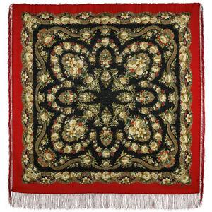 Pawlow Posad/Pavlovo Posad russischer Schal-Tuch Tradition146x146 Wolle 1511-4
