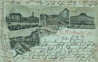Ansichtskarte Offenbach a. M. 1898 Kunstgewerbeschule Markt Alicenplatz (Nr.830)