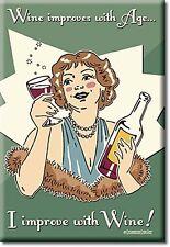 Wine Improves With Age funny fridge magnet   (de)