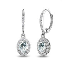 925 Silver Aquamarine Oval Dangle Halo Earrings with White Topaz Accents