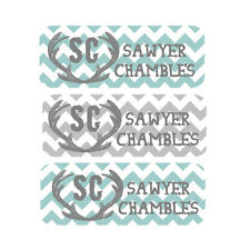 Waterproof Name Labels, Baby Bottle, Daycare, School, Teal, Gray, Chevron, Boy