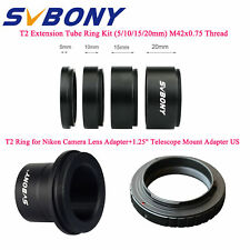 New T2 Extension Tube Ring Kit 5/10/15/20mm M42x0.75+1.25''Mount Adapter+T2 Ring