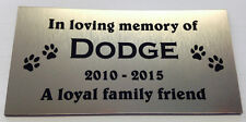Exterior UV Rated Silver Laser Engraved Plastic Plaque Pet Memorial 120x60mm
