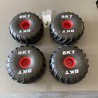 4 Mega Monster Jam Grave Digger BKT Replacement Tires Red Rim + Screws Foam