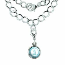 Silver Plated Bracelet with Antiqued Charm Letter Initial Flower Blue