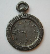 VINTAGE 1930's Metal Clock POCKET WATCH Charm Cracker Jack Toy Prize
