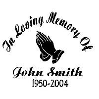 "In Loving Memory Of HANDS Decal Car Window Bumper Sticker Custom Memorial 7""x6"""