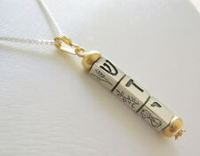 Mezuzah necklace Silver & Gold  kinetic seven species Bar/Bat Mitzva Gift