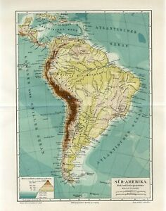 1895 SOUTH AMERICA RIVERS and MOUNTAINS BRAZIL CHILE PERU ARGENTINA Antique Map